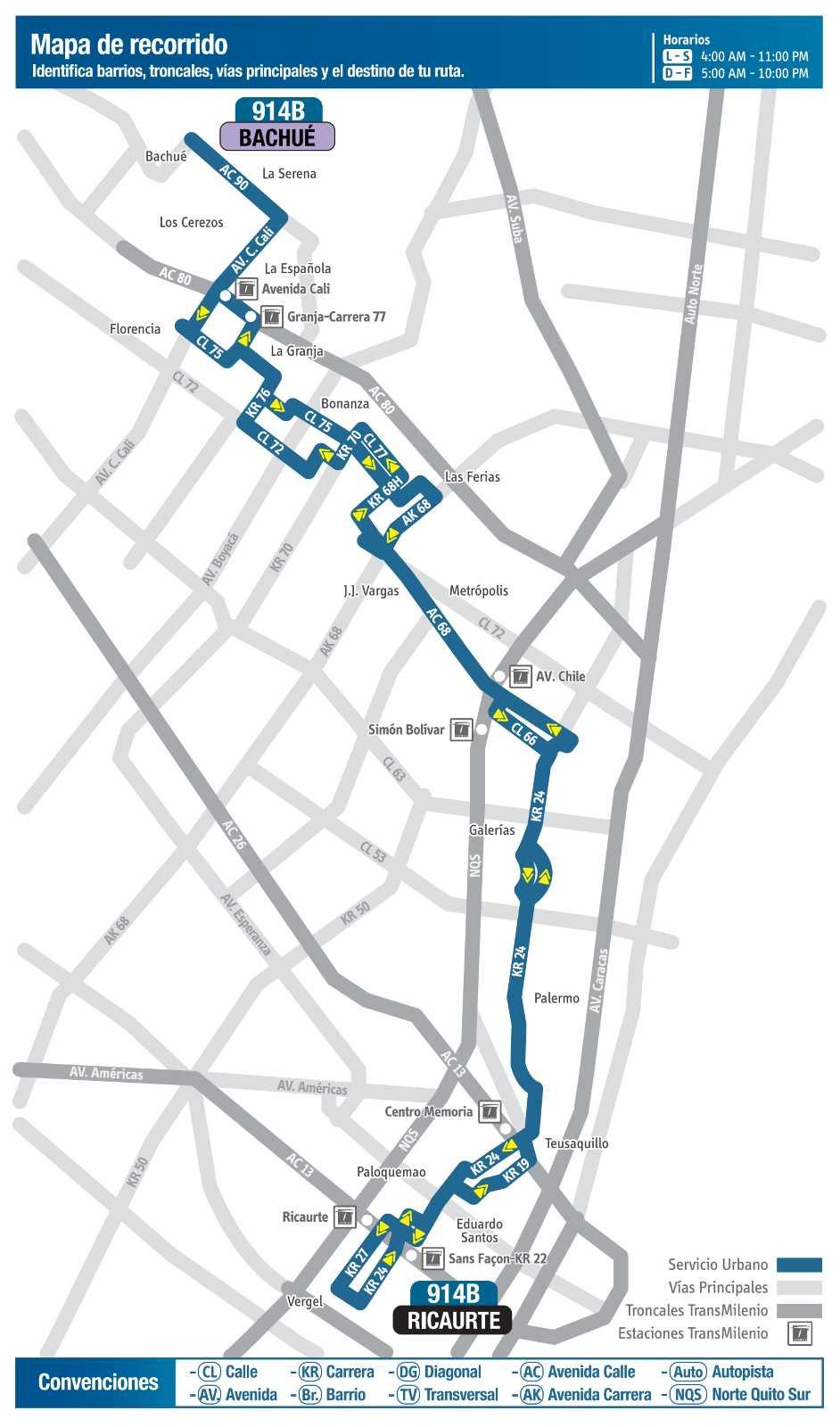 Ruta SITP: 914B Bachué ↔ Ricaurte (mapa)