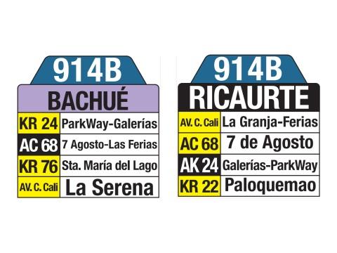 Ruta SITP: 914B Bachué ↔ Ricaurte (tablas)