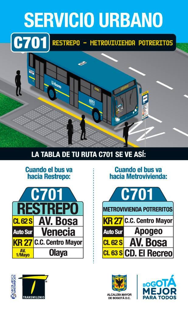 Volante ruta C701 >Metrovivienda (Potreritos) - Restrepo