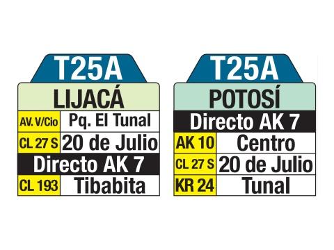Ruta SITP: T25A Lijacá ↔ Potosí (tablas)