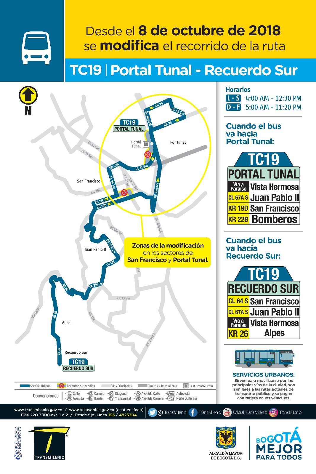 Volante ruta urbana TC19 - Portal Tunal – Recuerdo Sur