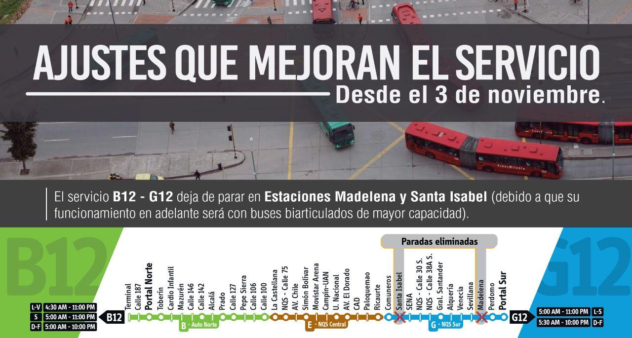 B12-G12 opera con buses articulados desde noviembre 2018