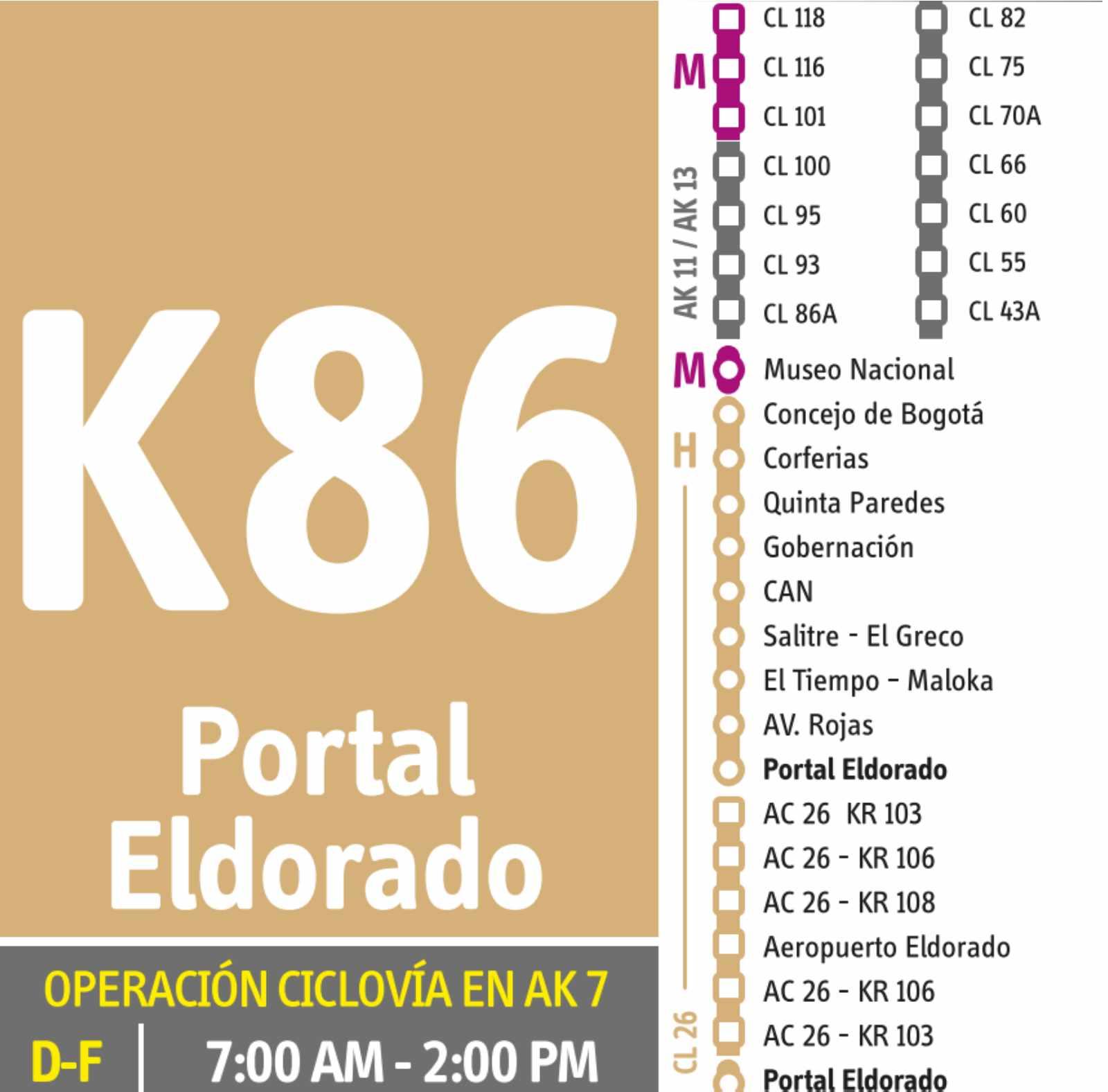 K86 > Aeropuerto Eldorado (dual) - festivos