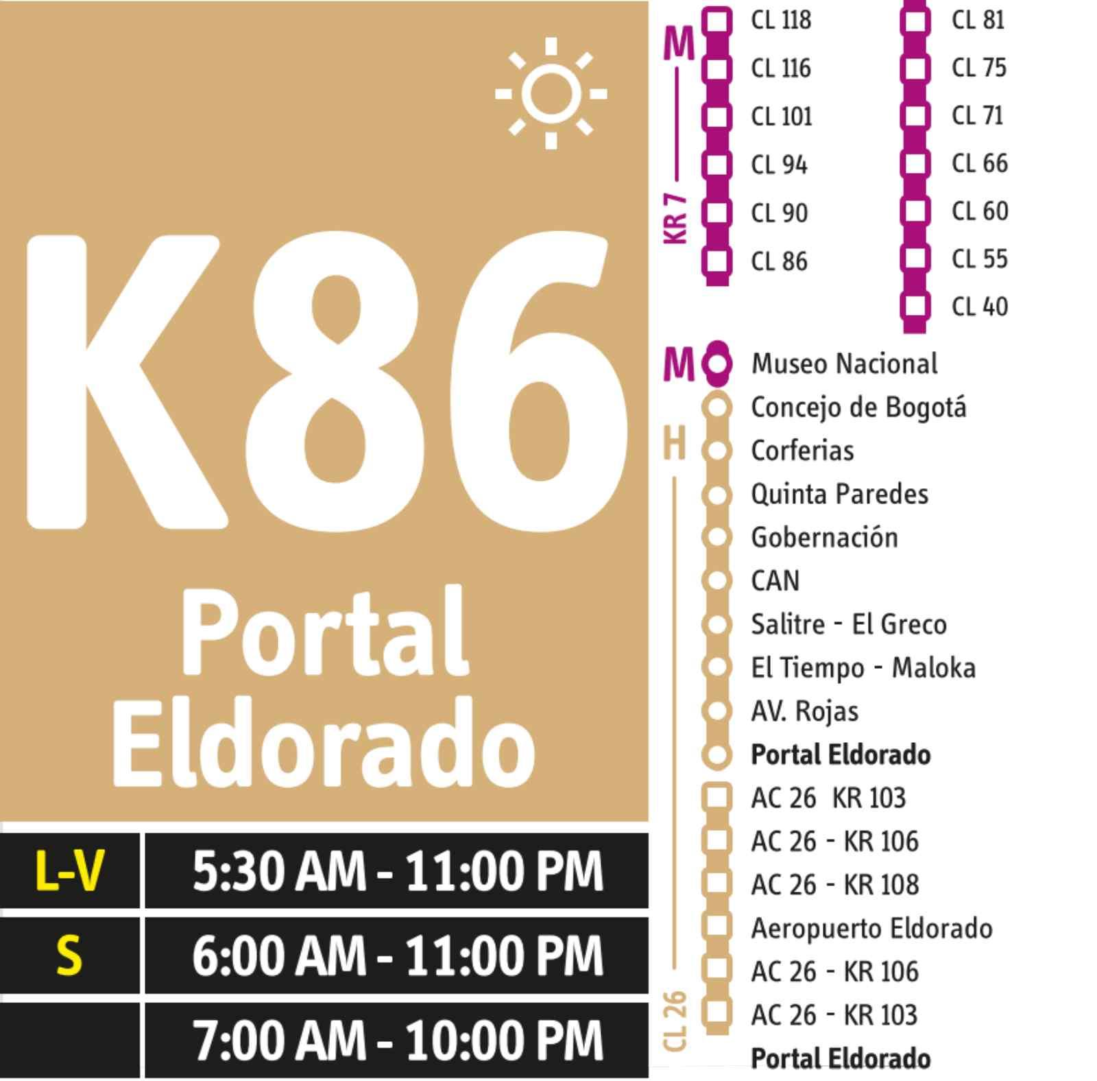 K86 > Aeropuerto Eldorado (dual)
