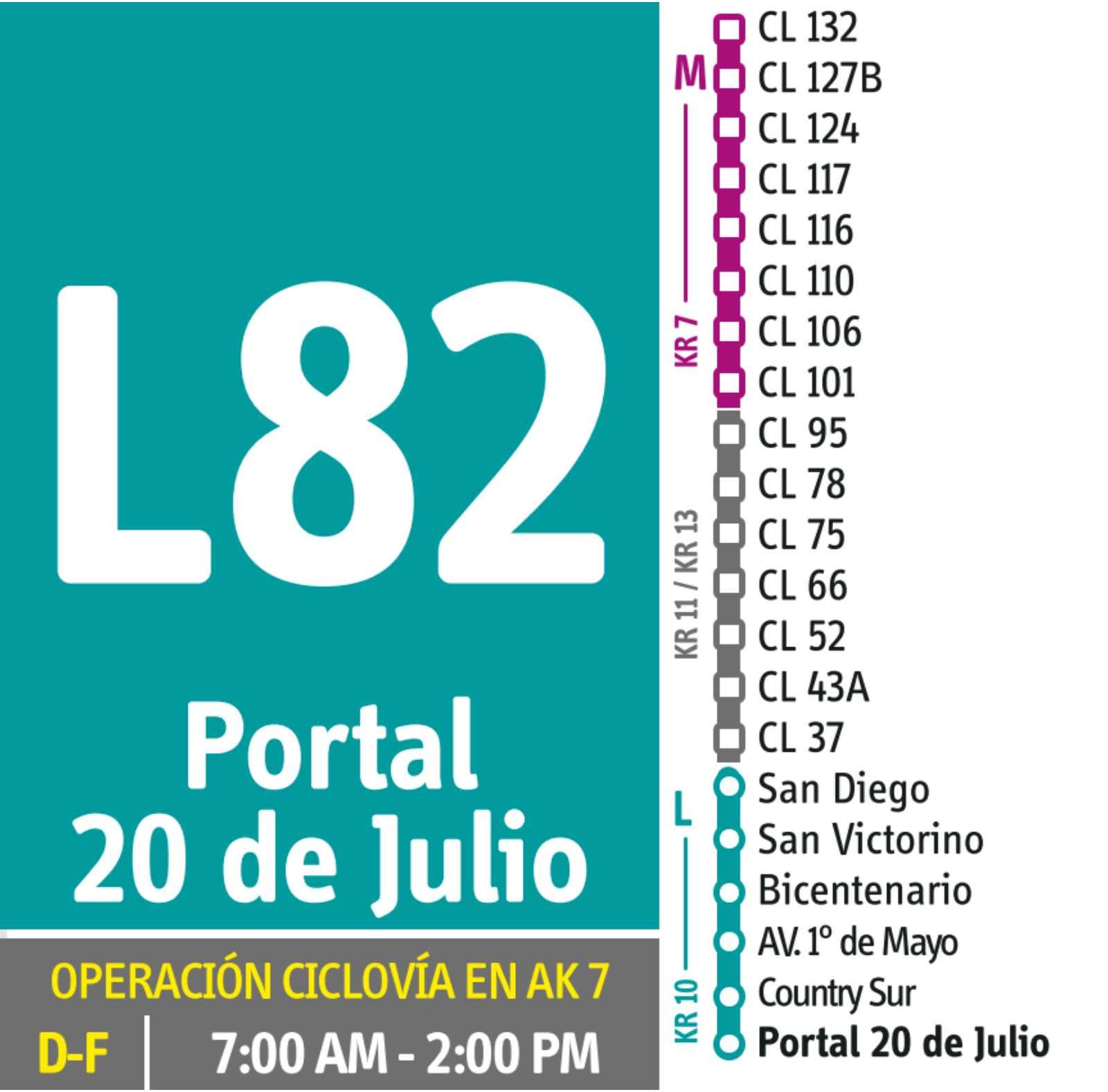 L82 >Clínica El Bosque -Portal 20 de Julio (DUAL) - festivos