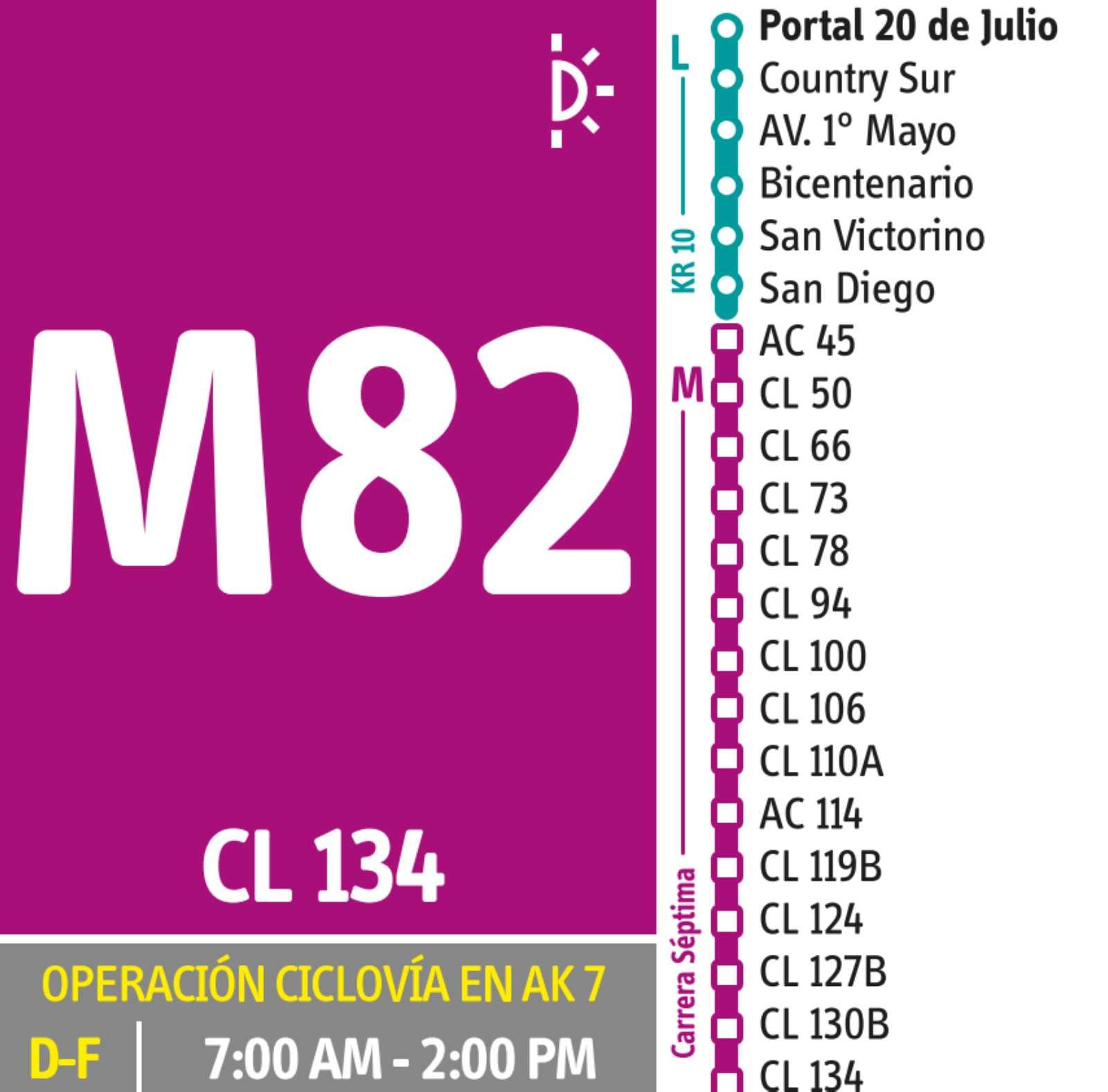 M82 > Portal 20 de Julio -Clínica El Bosque(DUAL) - festivos