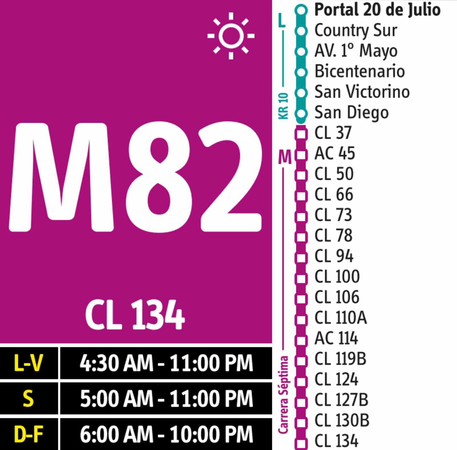 M82 > Portal 20 de Julio -Clínica El Bosque(DUAL)