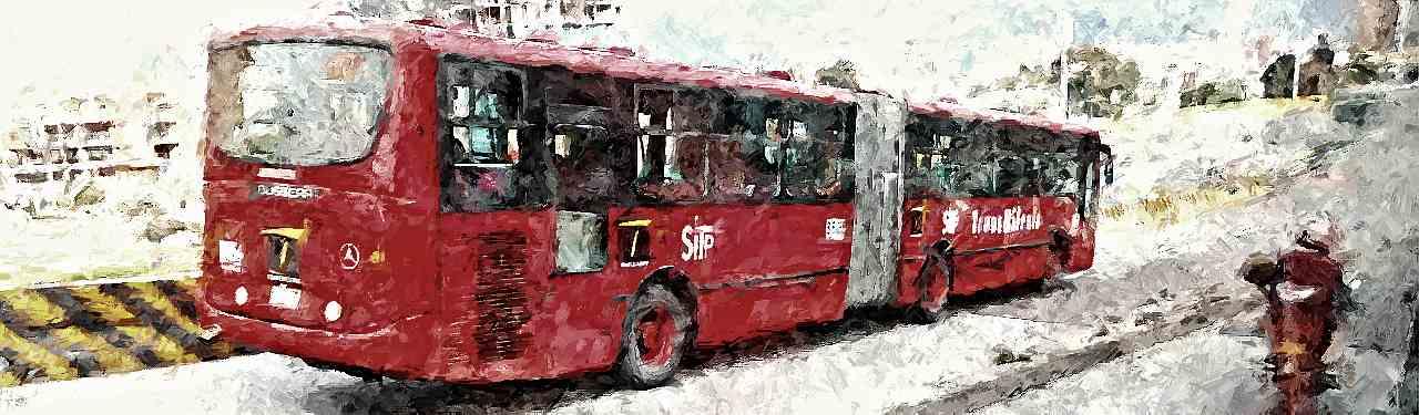 Bus TM circulando, efecto pintura dramático