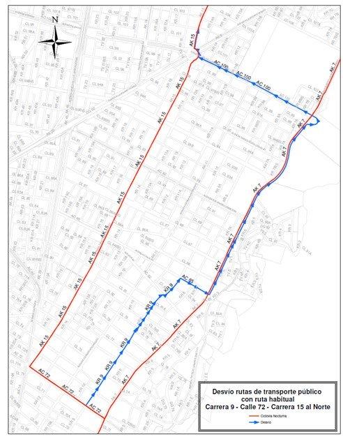 Mapa de desvíos Ciclovía Nocturna 2018 (mapa 2)