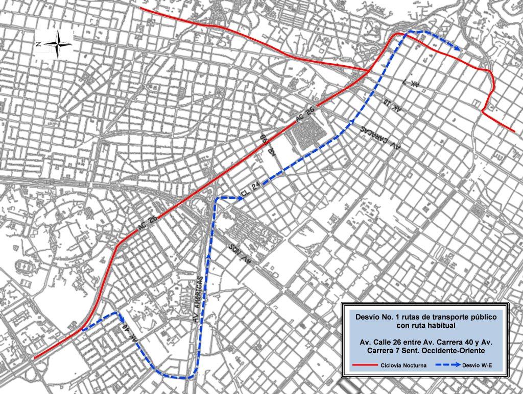 Mapa de desvíos Ciclovía Nocturna 2018 (mapa 6)