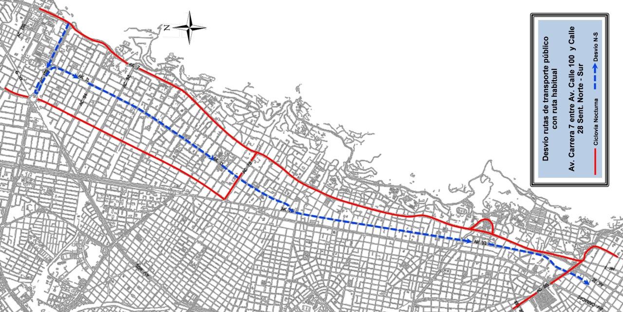 Mapa de desvíos Ciclovía Nocturna 2018 (mapa 13)