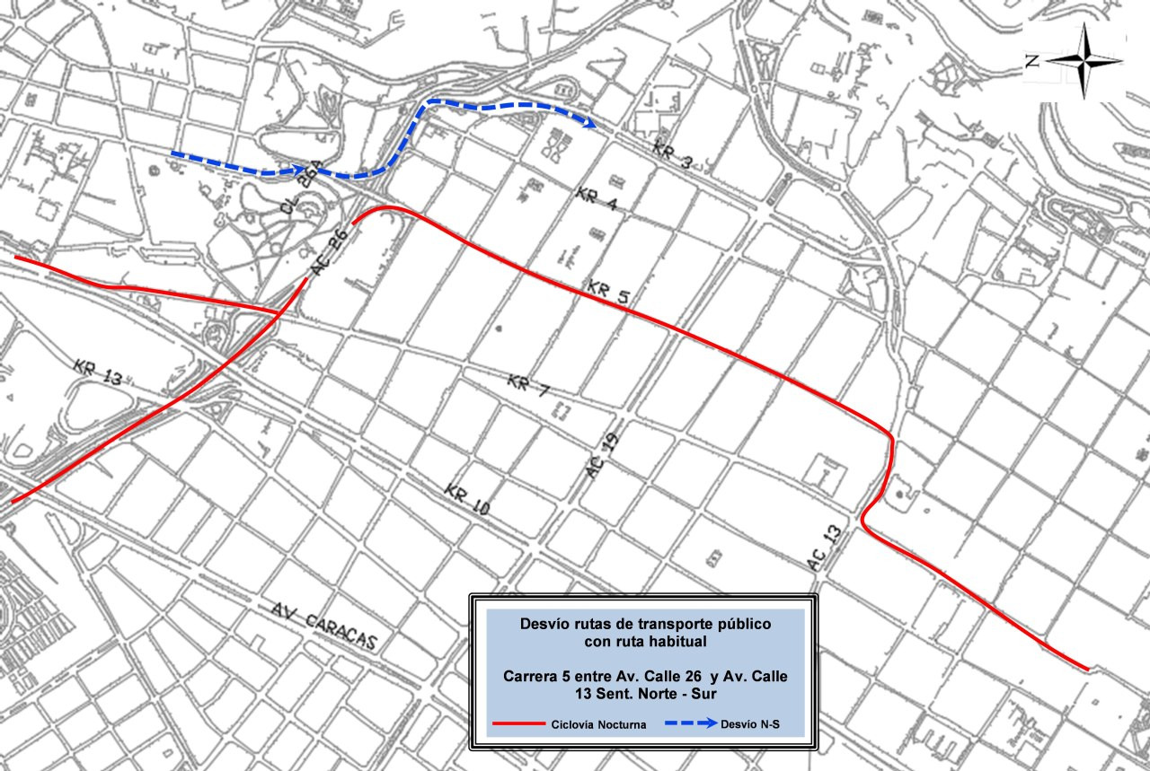 Mapa de desvíos Ciclovía Nocturna 2018 (mapa 14)