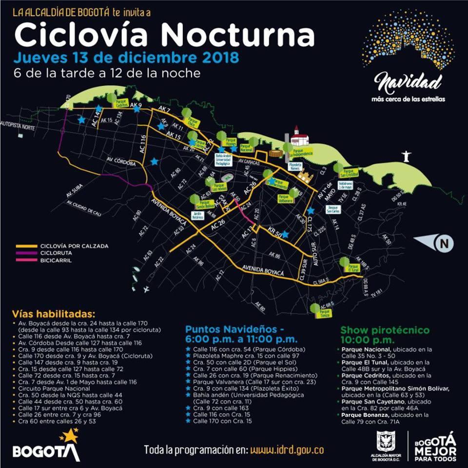 Mapa ciclocía nocturna habilitados, 13 jueves