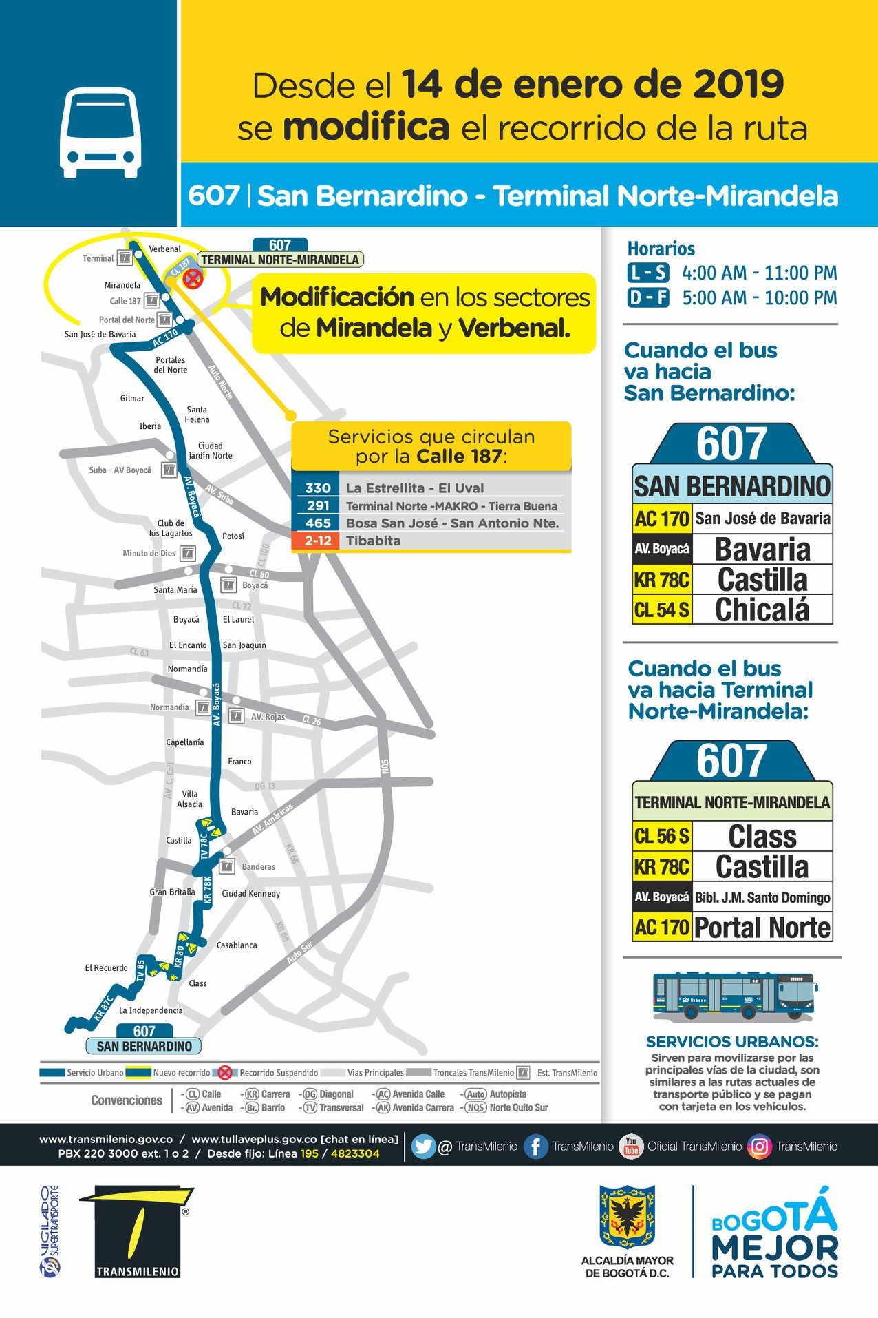 Mapa de la ruta urbana607 > San Bernardino-Terminal Norte/Mirandela
