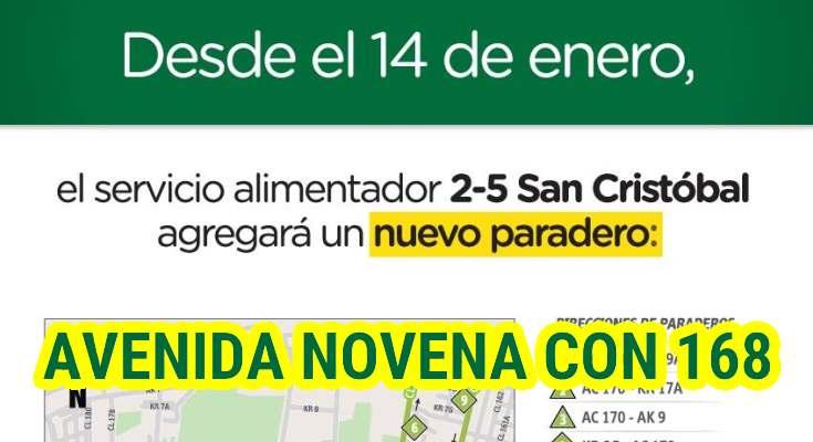 Ubicación de los paraderos de la ruta 2-5 San Cristóbal