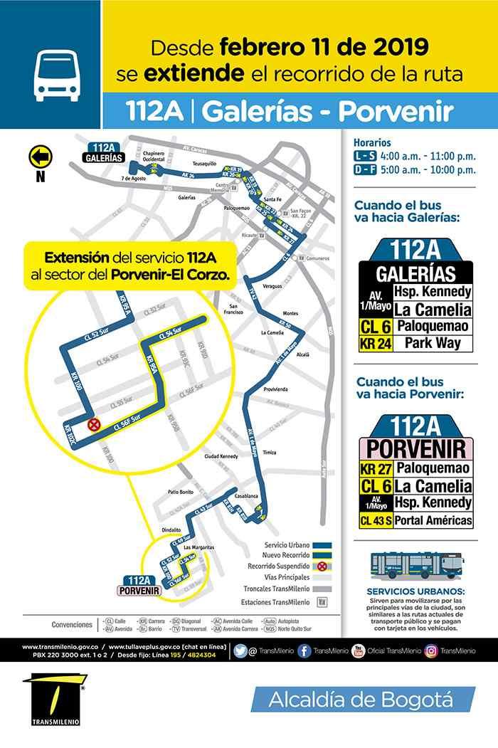 Bus 112A Galerías - Porvenir, mapa, recorrido, horarios