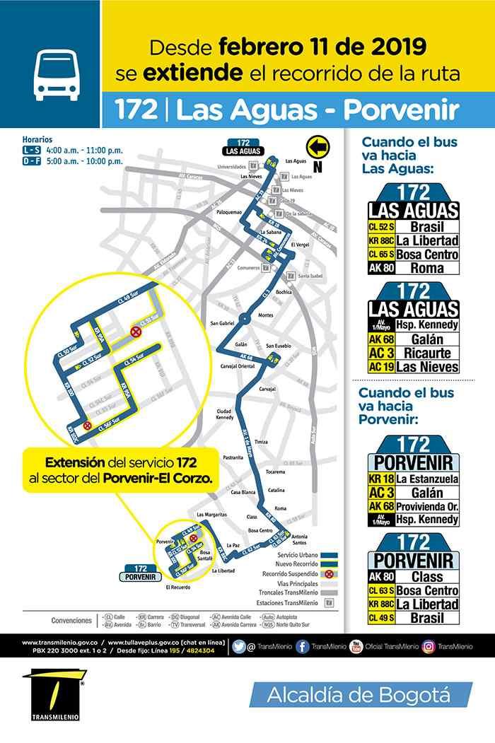 172 Las Aguas - Porvenir, recorrido desde 11 de febrero de 2019, mapa, horarios, etc.