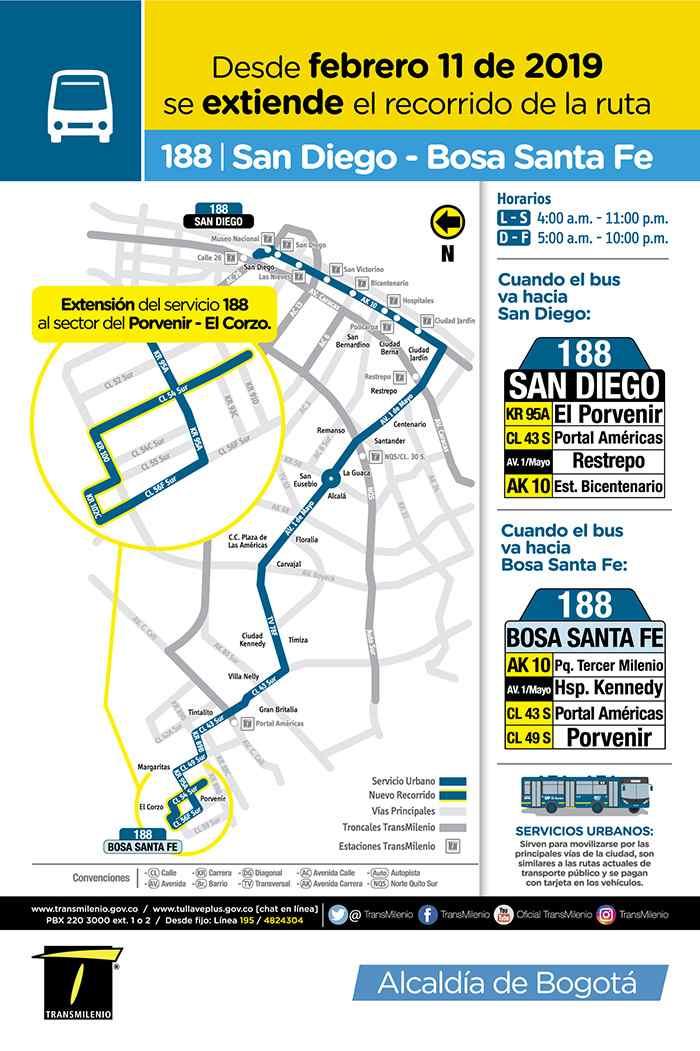Ruta urbana del SITP 188 San Diego - Bosa Santa Fe fue extendida en la zona de