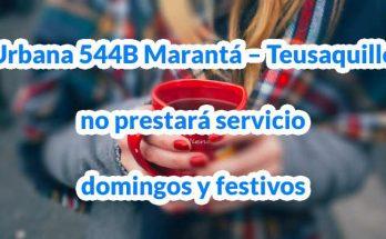 Urbana 544B del SITP con destinos Marantá – Teusaquillo deja de operar domingos y festivos