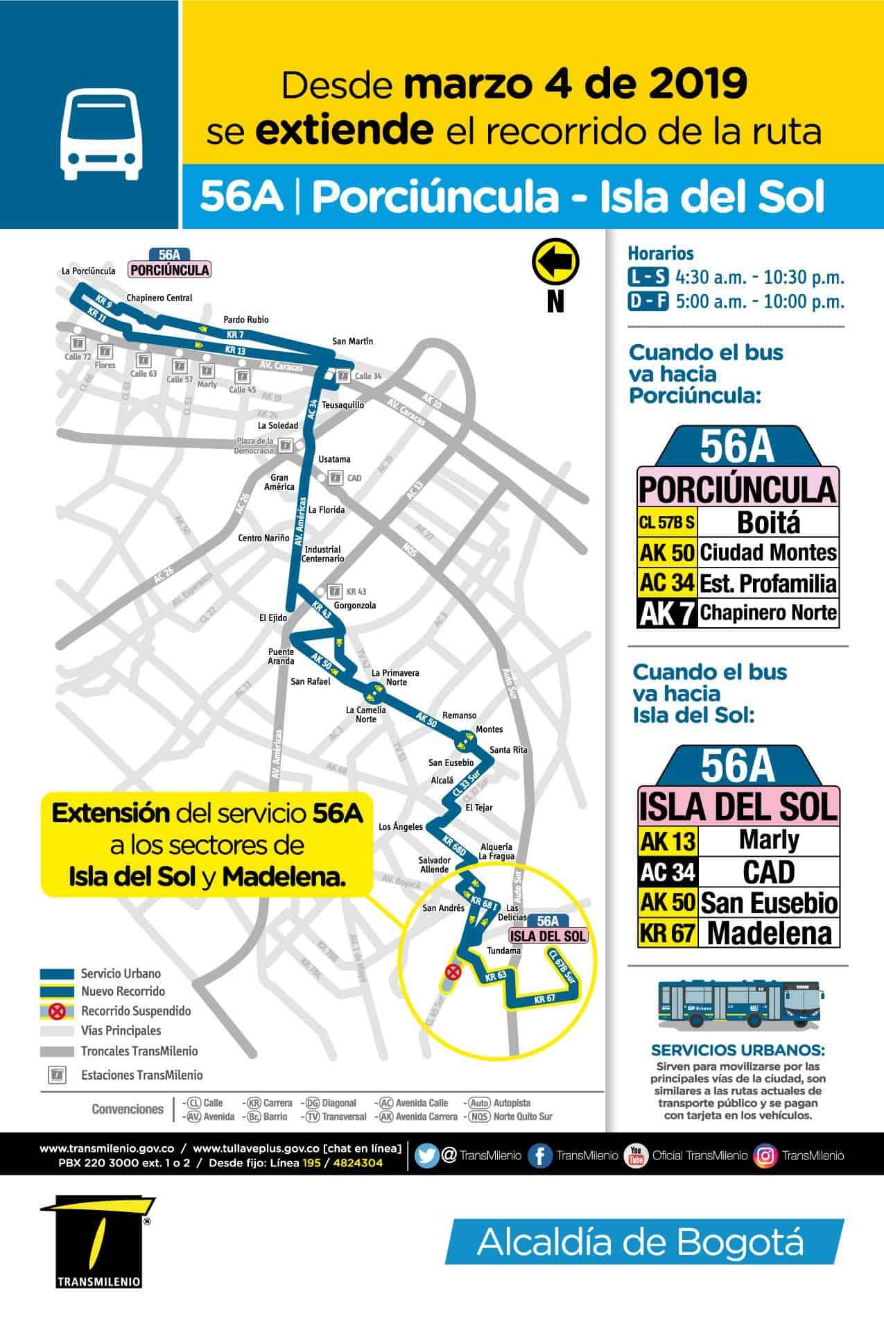 56A - volante ruta bus urbano Bogotá