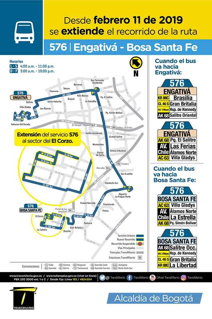 Bus 576 Bosa Santa Fe - Engativá, mapa, recorrido, horarios