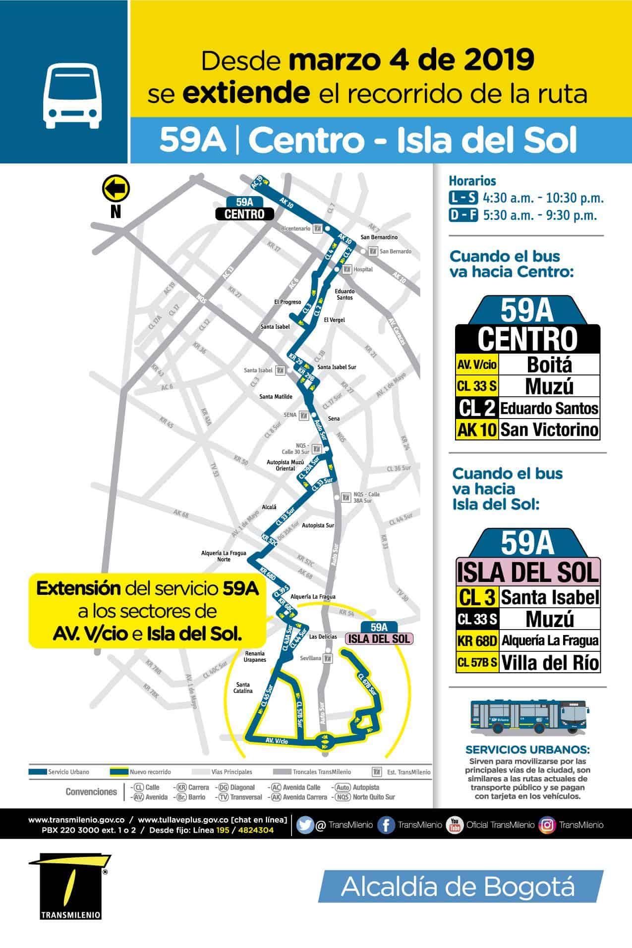 Recorrido ruta urbana 59A del SITP