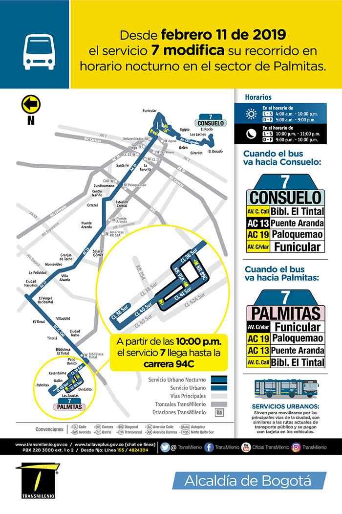 Bus 7 Consuelo - Palmitas, mapa, recorrido, horarios