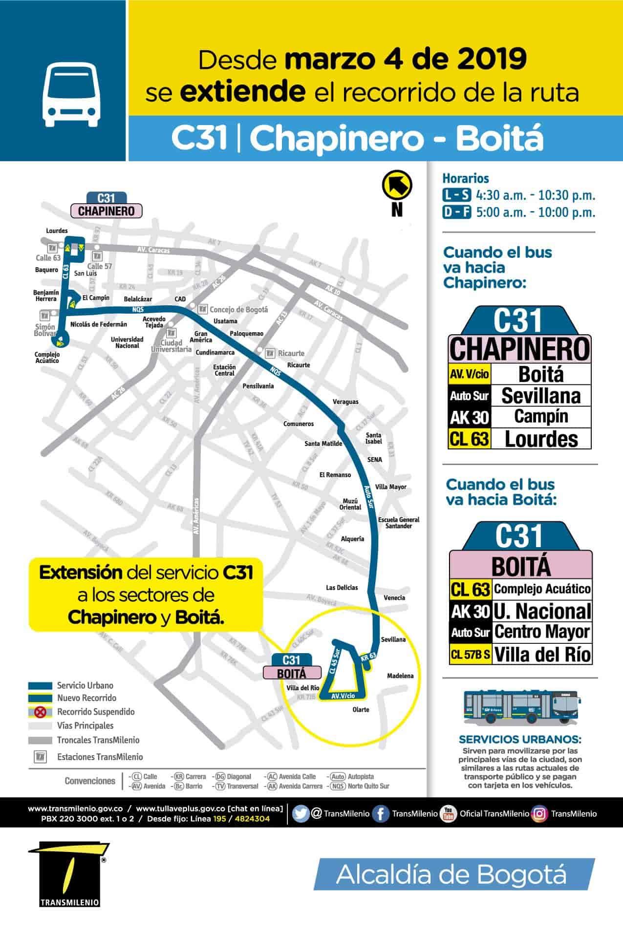 C31 > Chapinero - Boitá, ruta urbana del SITP