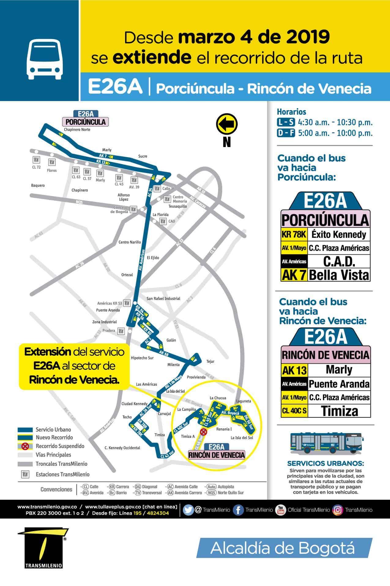 Ruta urbana E26A,, mapa, recorrido 2019