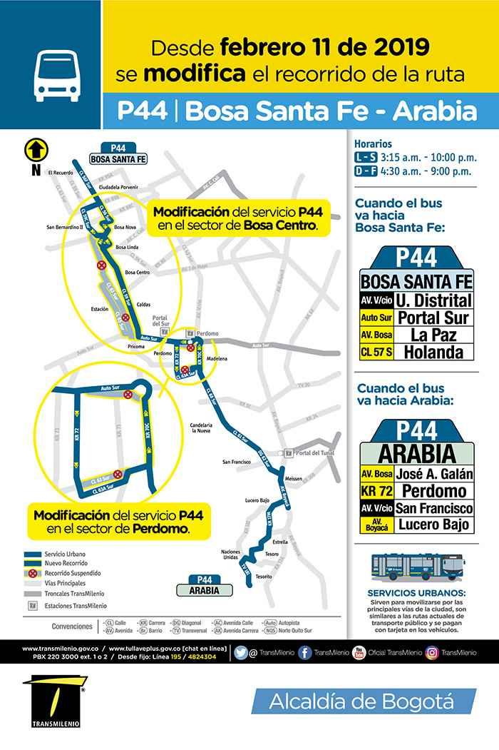 P44 Bosa Santa Fe - Arabia, mapa ruta urbana, buses azules