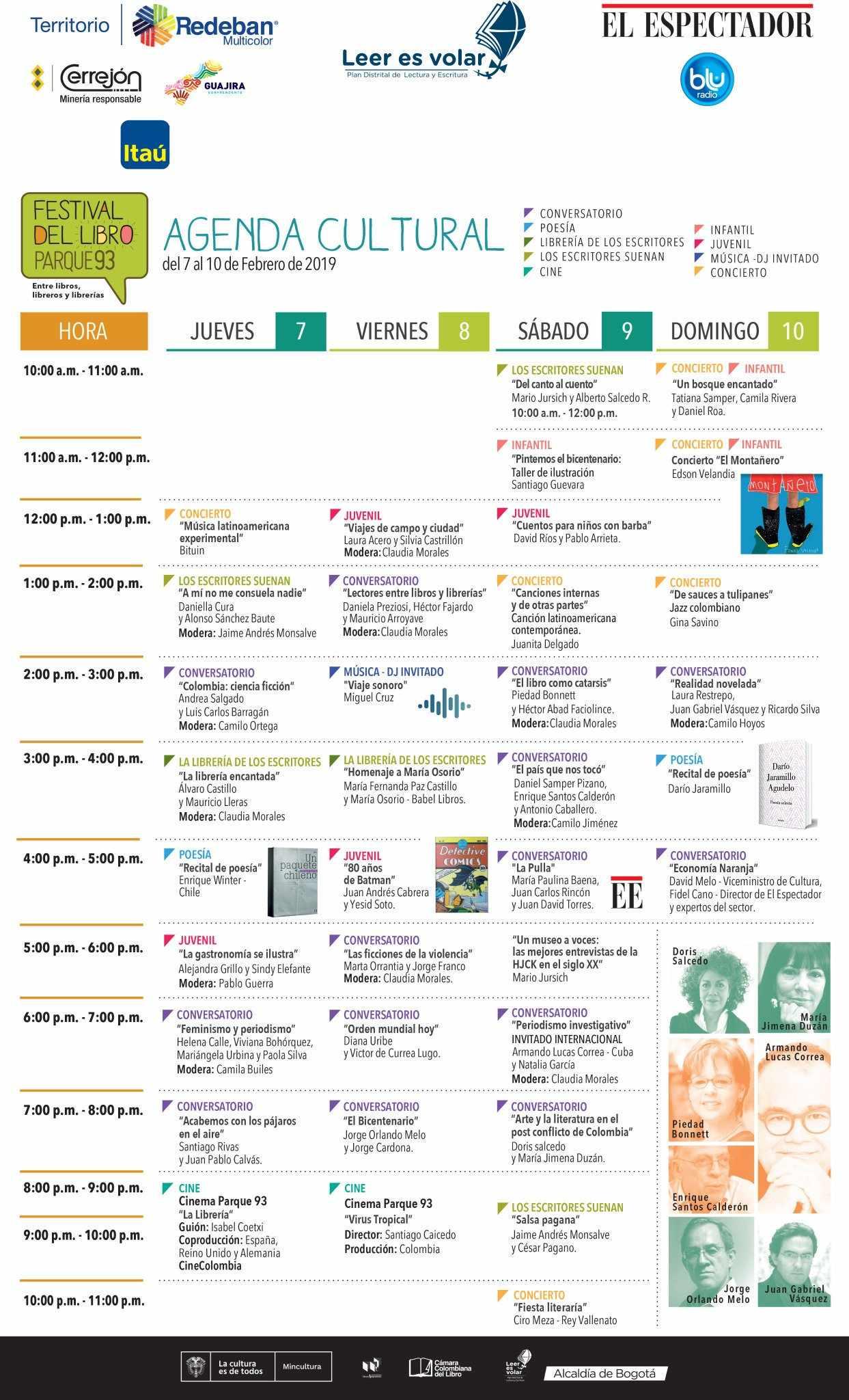 Agenda Cultural Festival del Libro - Parque 93
