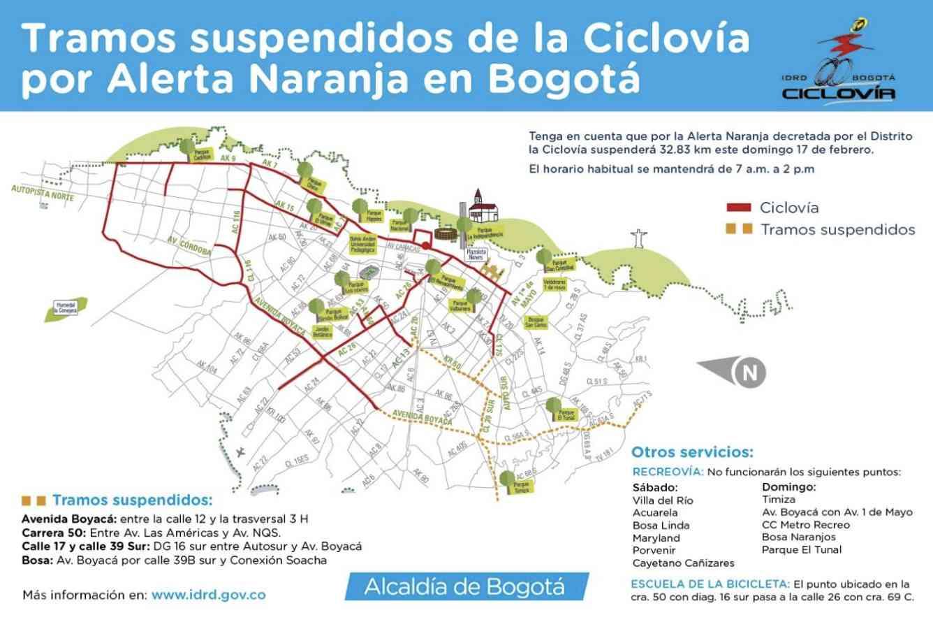 Cambios en ciclovía por alerta ambiental naranja en la ciudad de Bogotá
