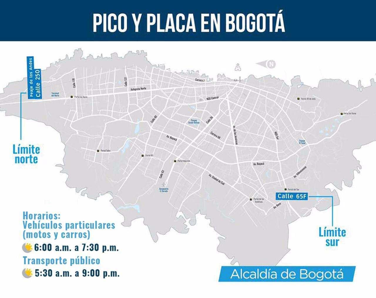 Mapa de zonas límites para el Pico y Placa ambiental