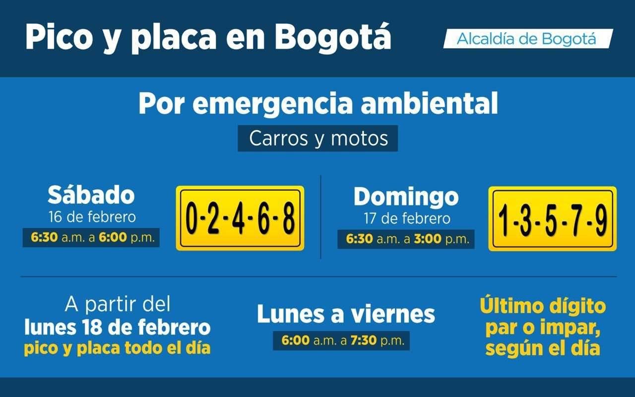 Pico y placa ambiental, febrero 2019, Bogotá