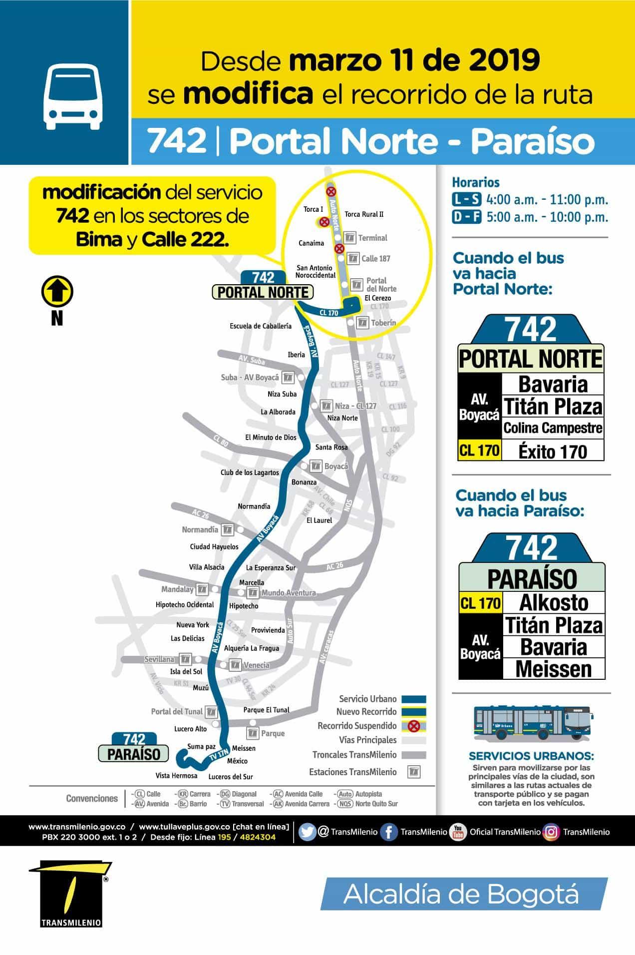 Mapa bus urbano desde el 11 de marzo de 2019, recortada hasta Portal Norte