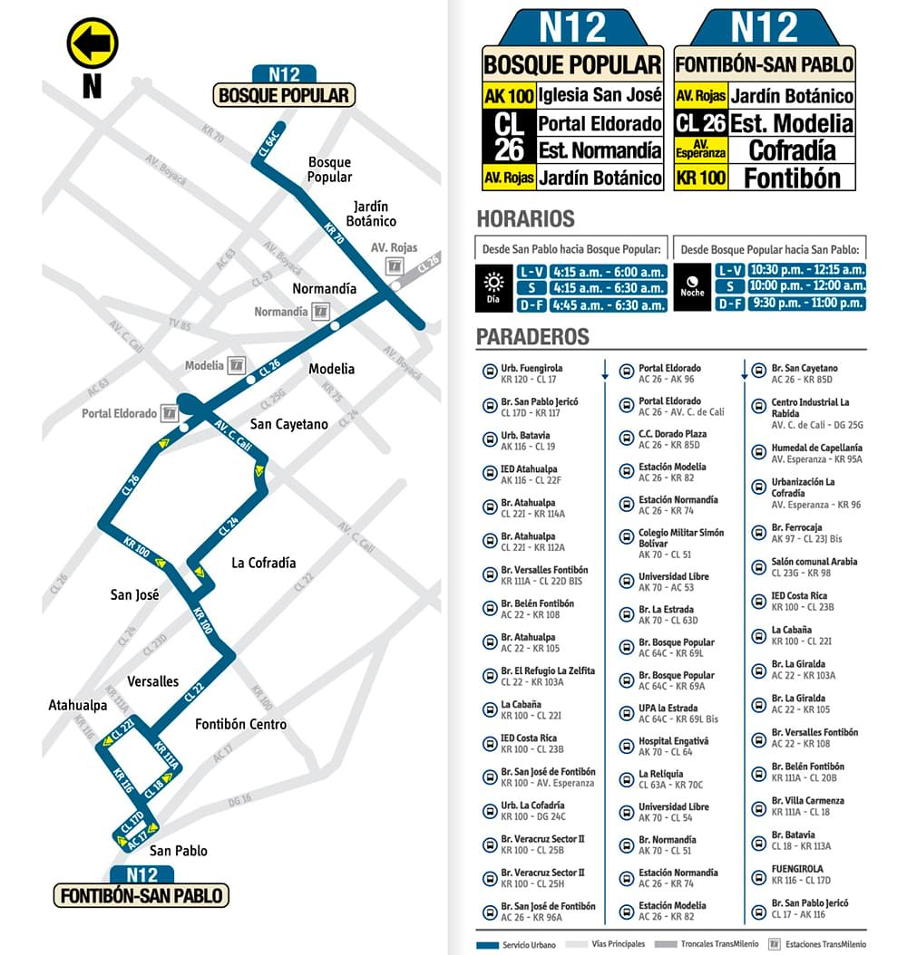 Ruta urbana N12 Bosque Popular - Fontibón San Pablo del SITP