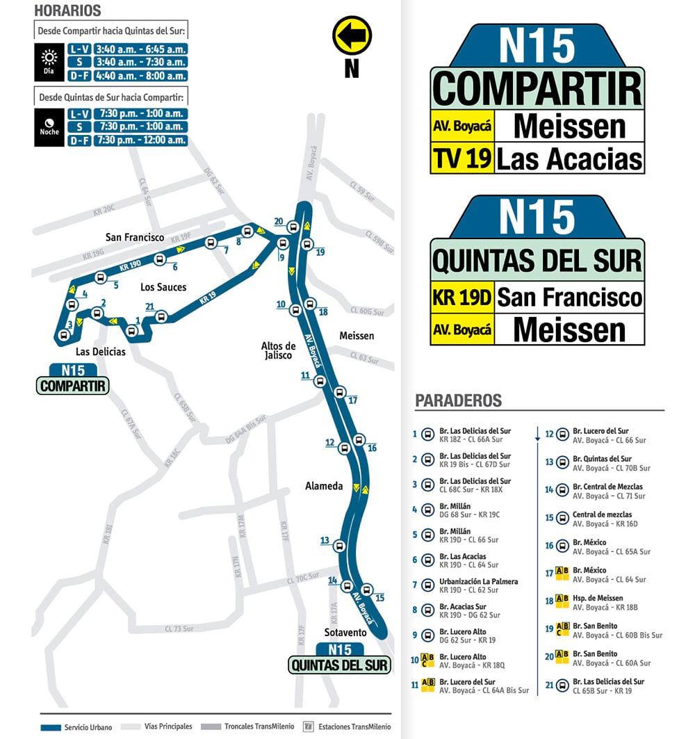 Nueva ruta urbana N15 Compartir - Quintas del Sur
