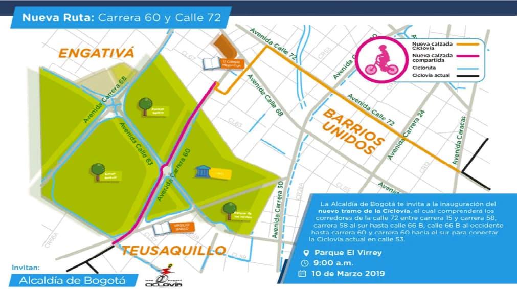 Nuevo tramo de ciclovía en Teusaquillo y Barrios Unidos