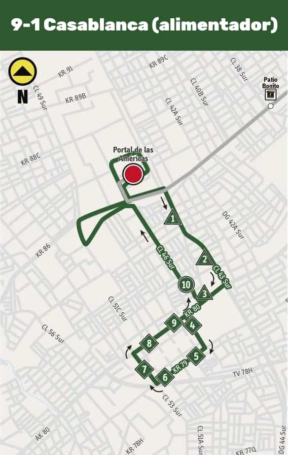 Mapa ruta alimentadora 9-1 Casablanca desde el 9 de abril de 2019