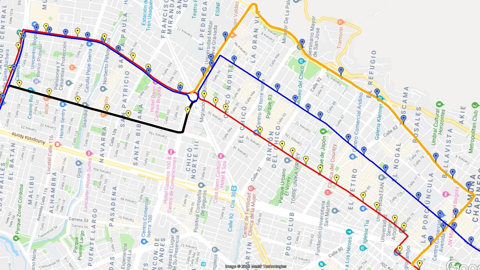 108 ruta SITP - desvíos ciclovía