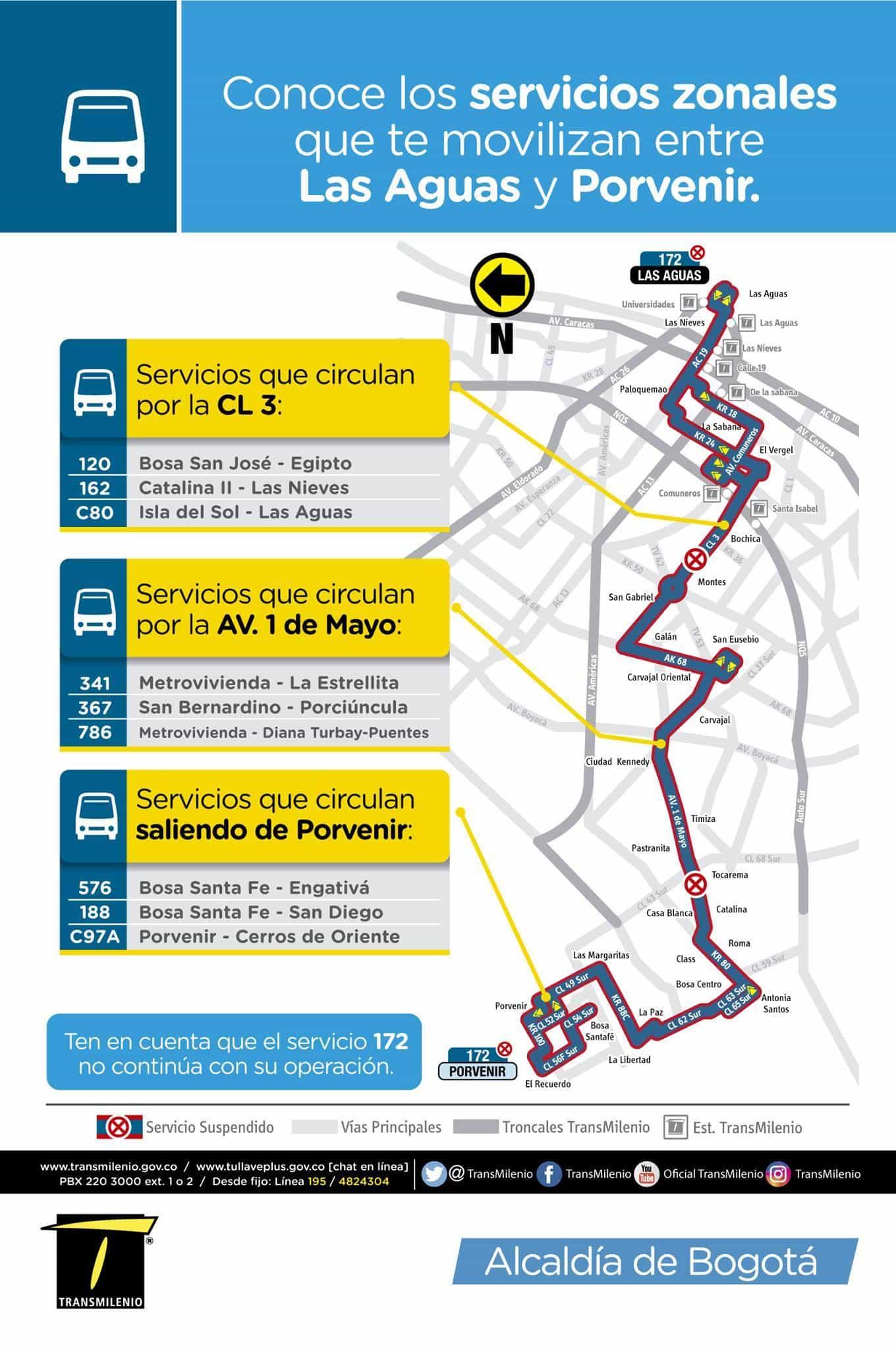 Rutas alternativas a la urbana 172, eliminada el 6 de julio