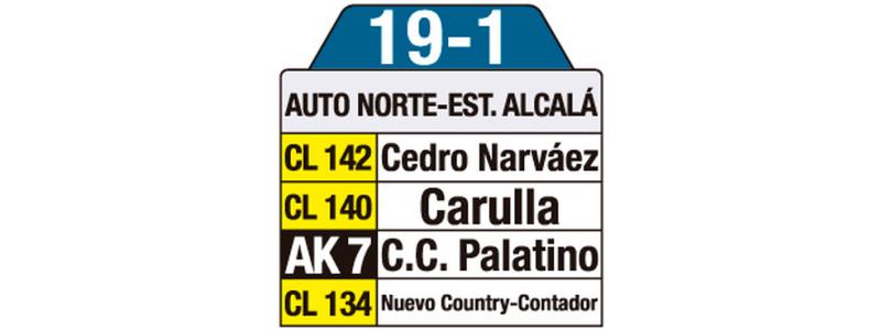 Tablas ruta urbana: 19-1 Auto Norte - Estación Alcalá