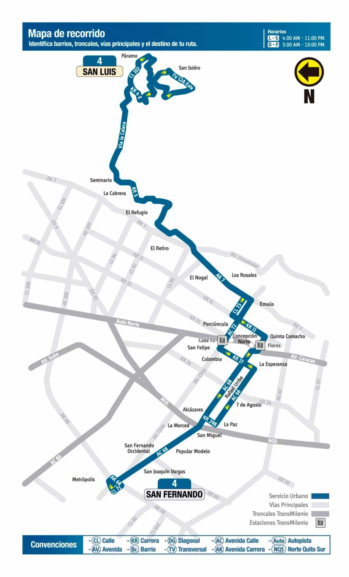 Mapa de recorrido de la ruta urbana: 4 San Fernando - San Luis