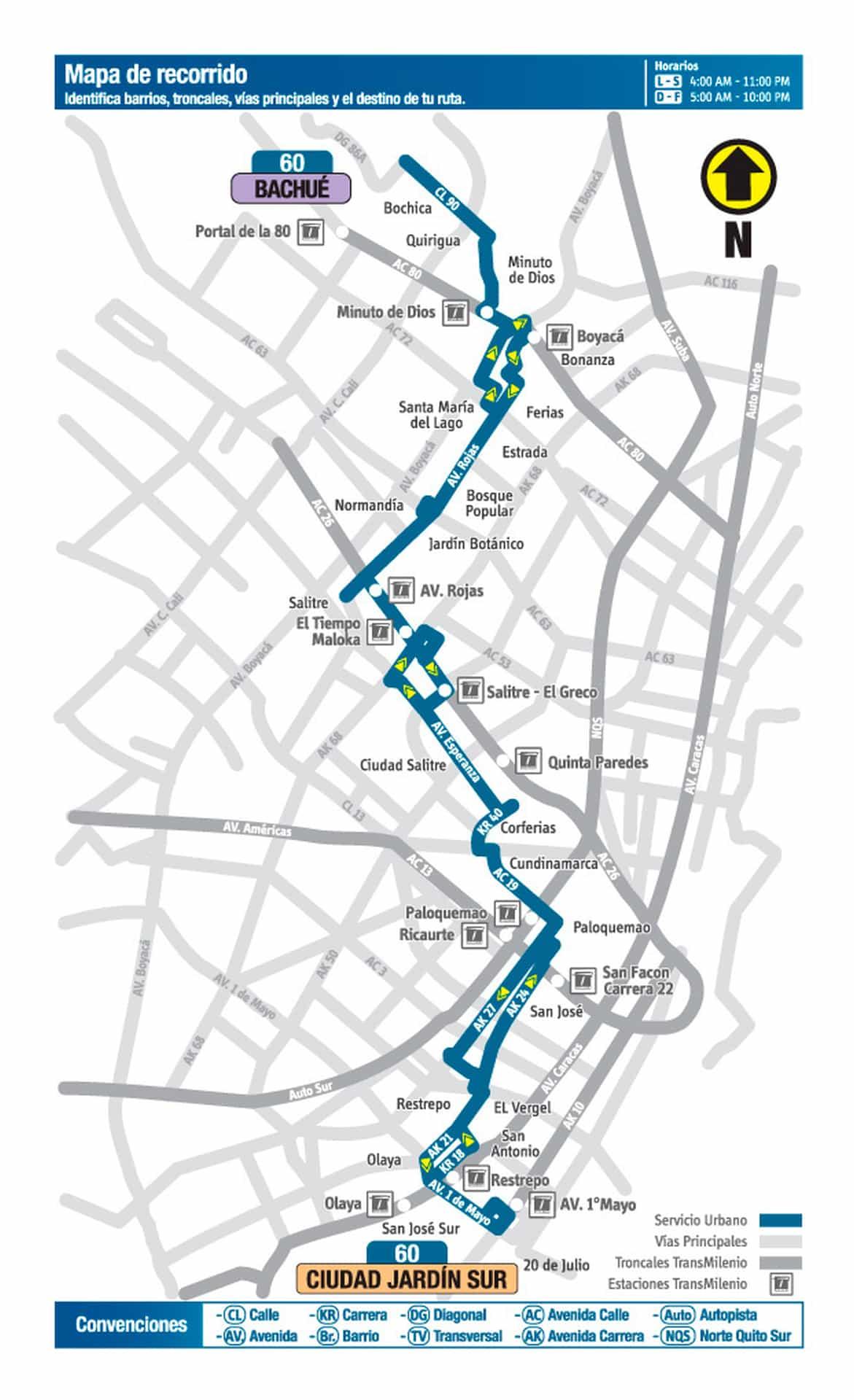 Mapa bus urbano: 60 Bachué - Lomas