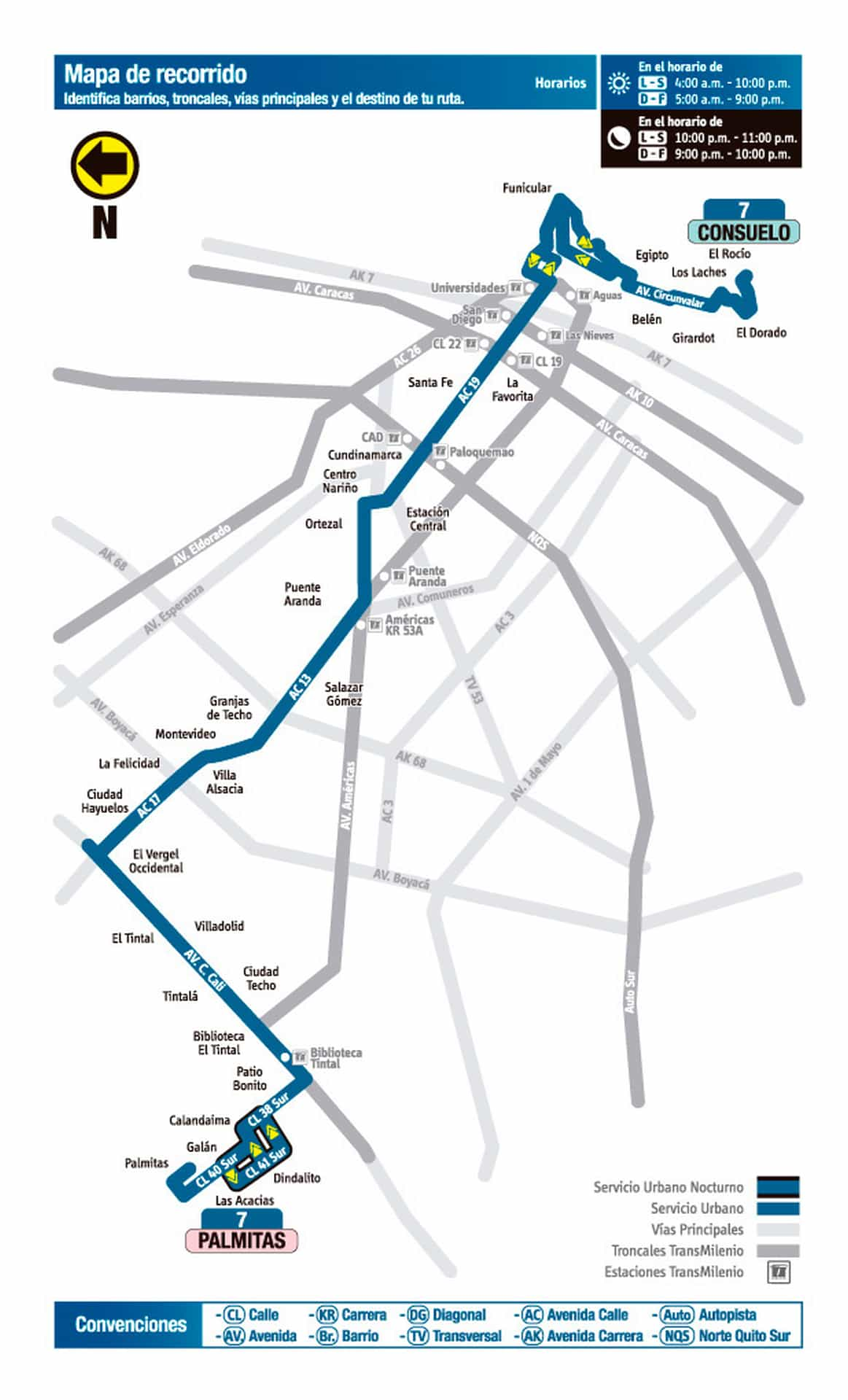 Mapa de recorrido de la ruta urbana: 7 Palmitas - Consuelo