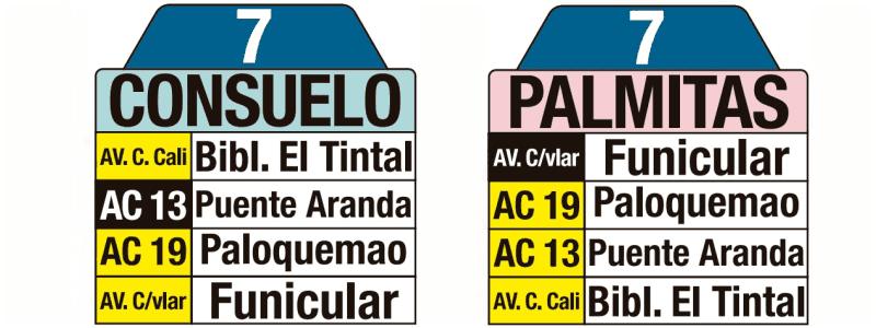 Tablas de la ruta urbana: 7 Palmitas - Consuelo