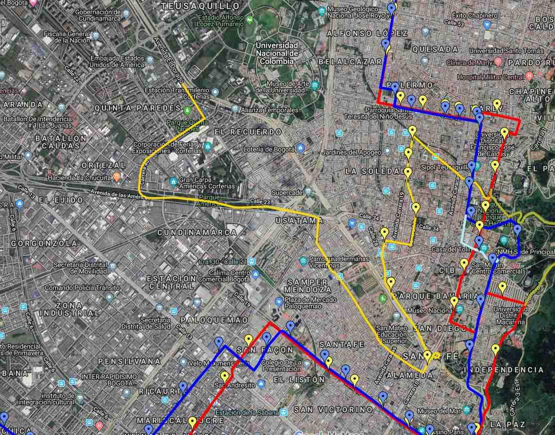 Desvíos por ciclovía - ruta urbana 97