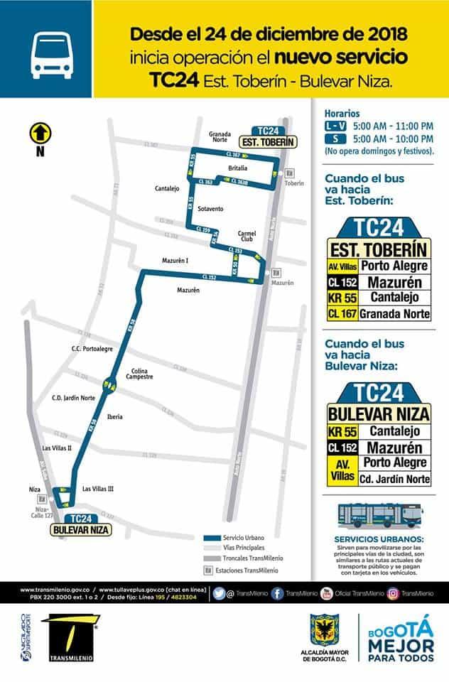 Nueva ruta urbana TC24 Estación Toberín - Bulevar Niza