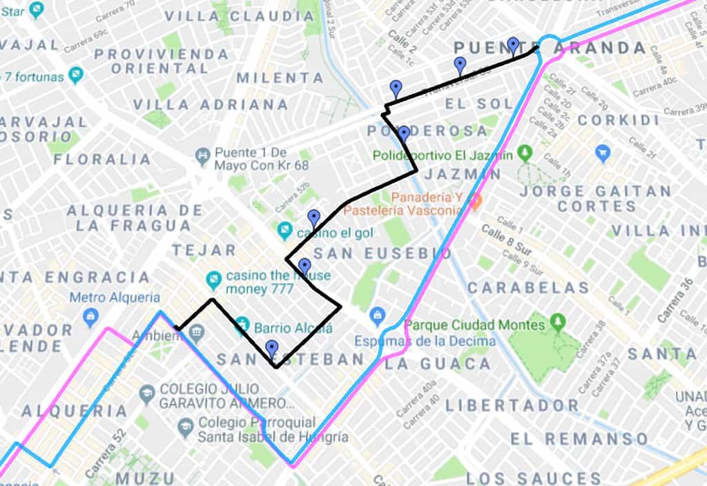 Desvíos de ciclovía ruta 143 Las Acacias - Gemania