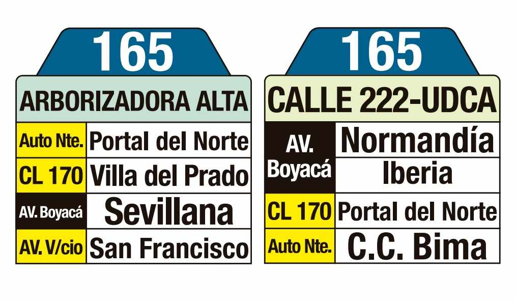 Bus urbano 165 - Arborizadora Alta - Calle 222- UDCA (tablas)